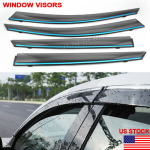 Window Visor Chrome 2018 19 For Honda Accord Sedan Wind Rain Guard Deflector New