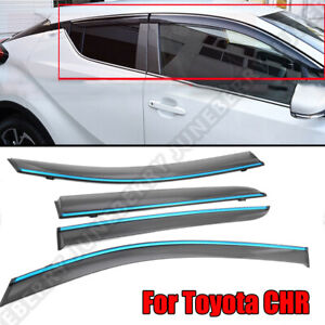 Fit 17 18 19 Toyota C Hr Chr Jdm Style Tinted W Chrome Trim Window Visor Vent