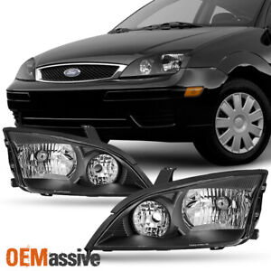 Fit 2005 2006 2007 Ford Focus Left Right Side Black Headlights Assembly Set