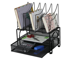 Easypag Double Tray Mesh Desk Organizer With Drawer And 5 Upright Sections New