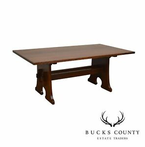 Stickley Mission Collection Oak Keyhole Trestle Dining Table W Leaves