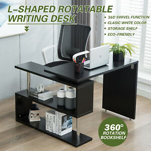Computer Desk Corner Office Table Gaming Writing All Purpose L Shape Rotating