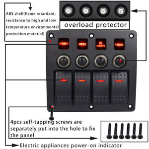3pin 4 Gang Switch Panel Led Rocker circuit Breaker Waterproof Marine 12 24v