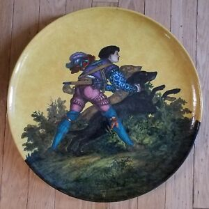 20 Inch Glazed Ceramic Charger Hand Painted Artist Signed Leclaire Leon 1882