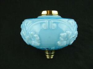 Antique Overlaid Moulded Turquoise Glass Oil Lamp Font Polished Brass Fittings