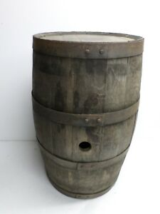 Antique Oak Wooden Keg W Four 4 Iron Bands Marked T S C 21 High