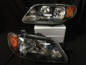 Pair New Left Right Headlight Assembly For Mazda Protege 2001 2002 2003 Black