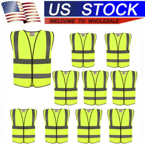 10pcs Safety Reflective Vest Security Visibility Construction Traffic warehouse