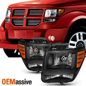 Fit 2007 2008 2009 2010 2011 Dodge Nitro Black Headlights Left Right Side Pair