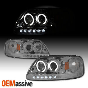 Fits 97 03 Ford F150 Expedition Smoke Halo Led 1 Piece Projector Headlights