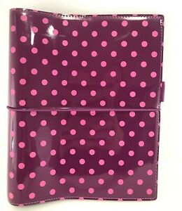 Filofax Organizer A5 Patent Leather Polka Dot Domino Planner Binder Pink Purple