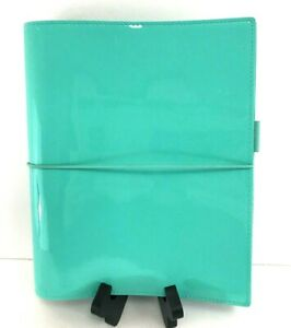 Filofax Organizer A5 Patent Leather Domino Planner Binder Turquoise Blue