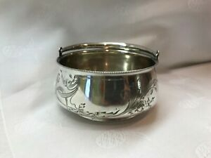 Antique Russian Sugar Bowl Basket Silver Marked 84 Imperial Mark