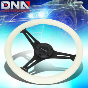 Nrg St 015bk Gl 350mm Glow In Dark Handle Black 2 Deep Dish Steering Wheel White