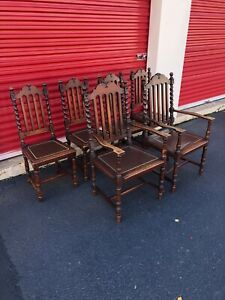1960s Gothic Revival Walnut Dining Chairs Set Of 6