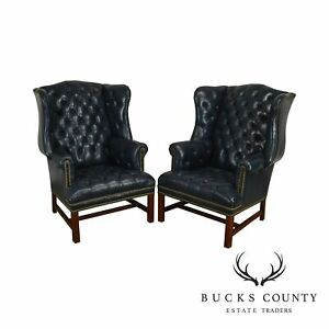 Chippendale Style Tufted Blue Leather Pair Wing Chairs