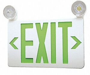 Lumapro Led Exit Sign With Emergency Battery Powered Lights Green Double Sided