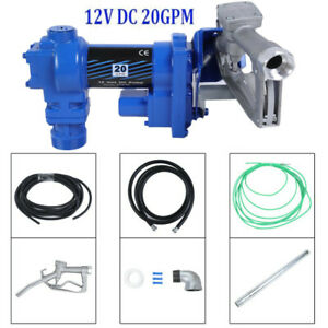 12v 20 Gpm Explosion proof Fuel Transfer Pump Manual Nozzle Discharge Hose To