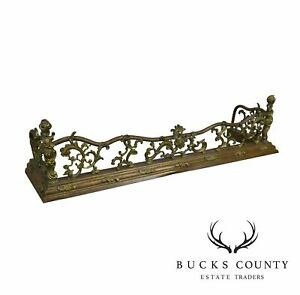 French Rococo Style Antique 19th Century Brass Fireplace Fender