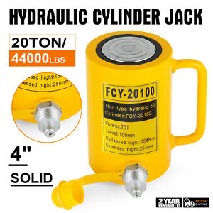 20 Tons 4 Solid Hydraulic Cylinder Jack 100mm 4inch Stroke Ram Pulling Bending