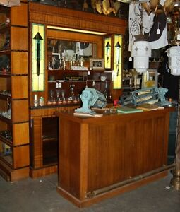Art Deco Front Back Bar Mahogany Stained Glass Candy Soda Barber Shop
