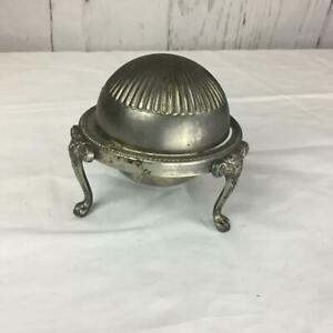 Vintage Silver Plate Dome Sliding Cover Butter Dish With Glass Dish
