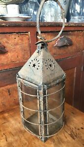 Antique 19th Century Punched Tin Glass Panel Lantern As Found