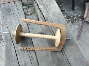 Antique Primitive Wood Wooden 13 L Spinning Wheel Flyer Bobbin Spool Europe