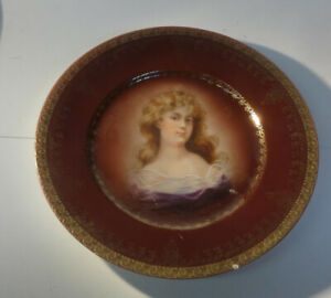 Antique Royal Vienna Portrait Plate 9 3 4 Under Glaze Beehive Mark
