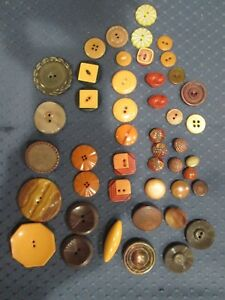 Vintage Mixed Lot Of 44 Art Deco Retro Celluloid Plastic Buttons Amber 1 1 2 3 8