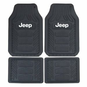 4pc Jeep Weatherpro Black Car Truck Suv Heavy Duty All Weather Rubber Floor Mats