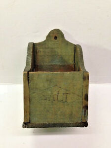 Old Primitive Wall Hanging Antique Salt Box In Dry Green Paint Folk Art Aafa