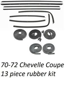 70 72 Chevelle Weatherstrip Kit 13 Pc Kit Fuzzies Doors Roofrail Trunk Rubbers
