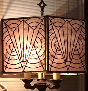 Mid Century Art Deco Vintage Style Silver Mica Lamp Shade