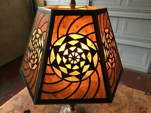 Fibonacci Mandala Modern Arts Crafts Antique Style Mica Table Lamp Shade