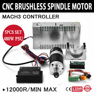 Cnc 400w Brushless Spindle Motor Speed Controller Mount 600w Psu Us Stock