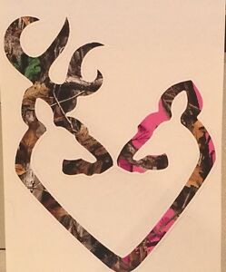 Camo Deer Pink Buck Doe Heart Browning Camo Hunting Window Sticker Decal