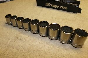New Snap on 9pc1 2 Drive Sae Shallow 12 Point Socket Set Large 13 16 To 1 5 16