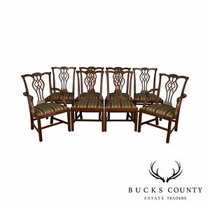 Stickley Chippendale Style Set Of 8 Solid Mahogany Dining Chairs