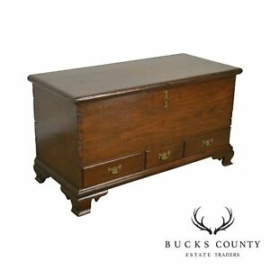 Early 19th Century Chippendale Style Antique Pine Blanket Chest With Drawers