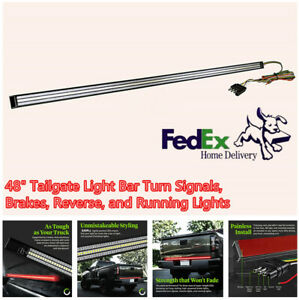48 Aluminum 5in1 Triple Led Tailgate Bar Turn Signals Brake Reverse Drl Light