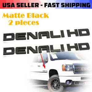 Pair11 18 Matte Black Gmc Sierra Denali 2500hd 3500hd Badges Emblem Set