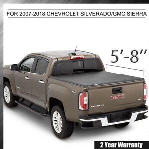 For 07 13 Chevy Silverado Gmc Sierra 1500 5 8ft 68 Rear Bed Tonneau Cover