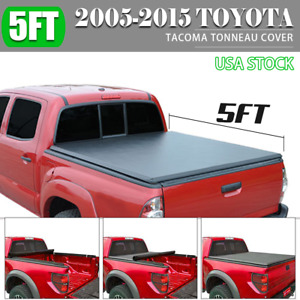 Fit 2005 2015 Toyota Tacoma Double Crew 5ft Bed Soft Roll Up Tonneau Cover