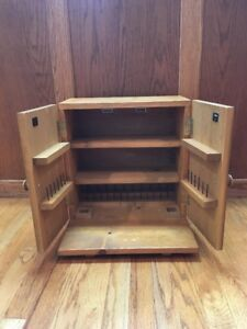 Large Vintage Wooden 3 Shelf Thread Sewing Cabinet
