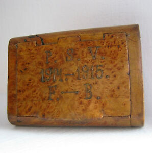 Box 1914 1915 Dated With Initials Wooden Cigarette Case Wood Bronze Brass