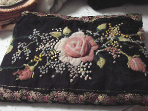 Vintage Pillow Wool Crewel Embroidery Roses Antique 1800s 7x10