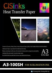 100 Sheet A3 11 7 x16 5 inch 100gsm Thick Sublimation Inkjet Heat Transfer Paper