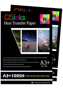 200 Sheets 13 X 19 100gsm Thick Sublimation Inkjet Heat Transfer Paper A3