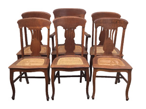 Ca 1900 Antique Set 6 Oak Victorian P Derby T Back Dining Chairs W Cane Seats